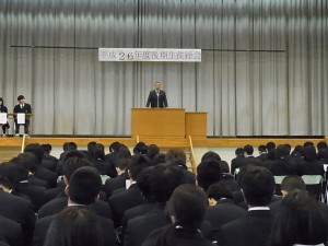 校長講評(卒業前の3年生への労いなど)