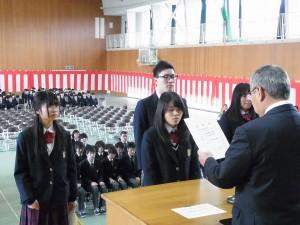 旭東地区高等学校PTA連合会善行者賞(安野さん)