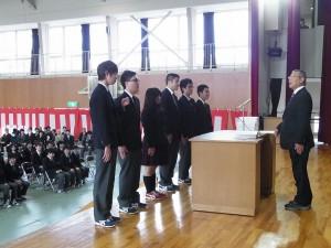 3年間皆勤賞(左から、大谷くん、三好くん、竹内さん、坂本くん、原田くん、山崎くん)