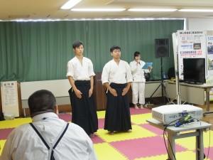 古武道部員演舞前の紹介