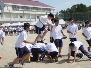 競技「人間綱渡り」