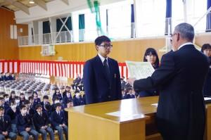 日本私立中学高等学校連合会会長賞(3年大関君)
