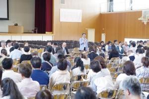 岡田新PTA会長の挨拶(講演会の前のPTA総会時)