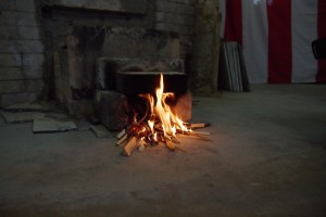 火が入った窯。