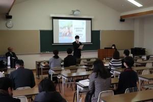 生徒代表からもご挨拶とご説明(体験談など)。