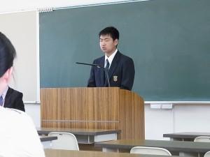 生徒を代表して生徒会会長からご挨拶と中学生の頃の様子や高校生活の体験談が。