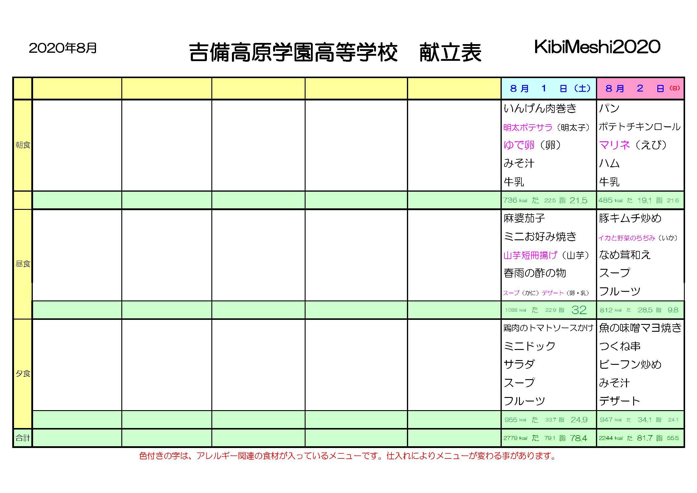 KibiMeshi20200801-0802